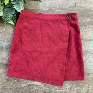 Love Riche Burgundy Criss-Cross Skirt